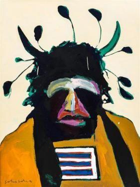 American Portrait with Santa Fe Headdress